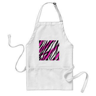 Zebra Stripe and  Neon Pink Abstract Stripes Aprons