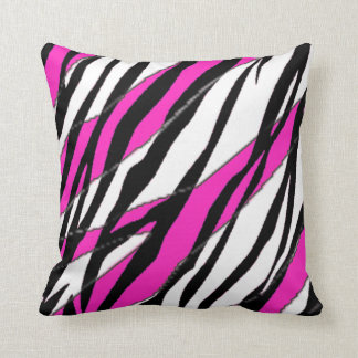 Zebra Stripe and  Neon Pink Abstract Stripes Cushion