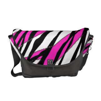 Zebra Stripe and  Neon Pink Abstract Stripes Messenger Bag