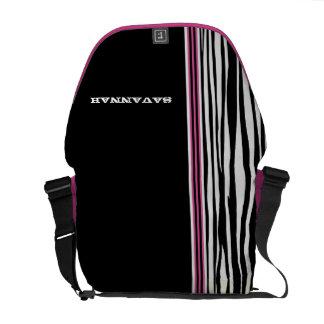Zebra Stripe Black Pink Racing Stripe Messenger Commuter Bag