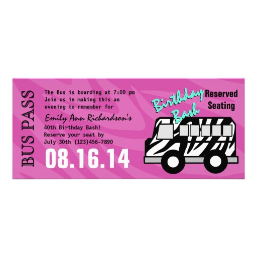 Zebra Stripe Bus Pass Birthday Party Announcements