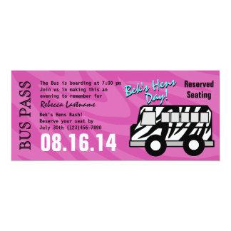 Zebra Stripe Bus Pass Hens Party 10 Cm X 24 Cm Invitation Card