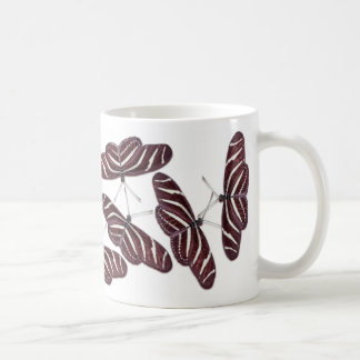 Zebra Stripe Butterflies Basic White Mug