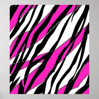 Zebra Stripe Hot Pink Poster