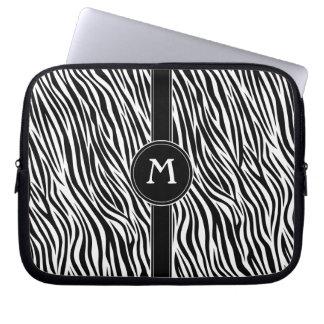 Zebra Stripe Pattern with Monogram Laptop Computer Sleeves