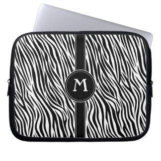 Zebra Stripe Pattern with Monogram Laptop Sleeve