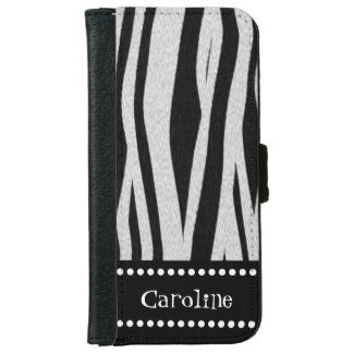 """Zebra Stripe Print """"Add Your Name"""" iPhone 6 Wallet Case"""