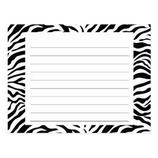 Zebra Stripe Recipe Card