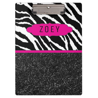 Zebra Stripe w/Glitter Pink Personalized Clipboard