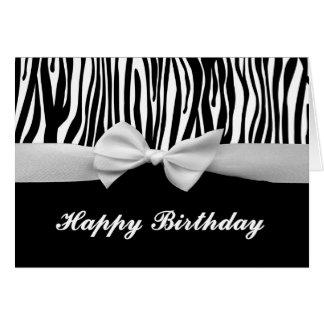 Zebra stripe & white ribbon graphic Happy Birthday Card