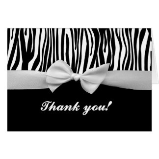 Zebra stripe & white ribbon graphic thank you card