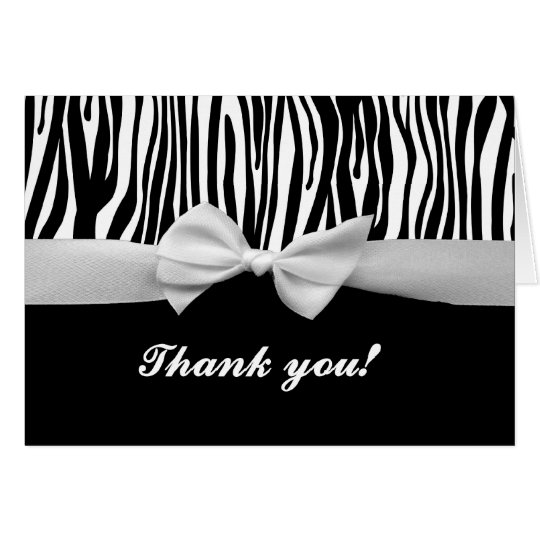 Zebra stripe & white ribbon graphic thank you card