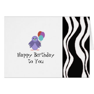 Zebra Stripe With Bird and Balloons Note Card