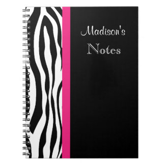 Zebra Stripe with Pink Personalized Notebook
