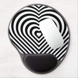 Zebra Striped Heart B&W Gel Mousepad