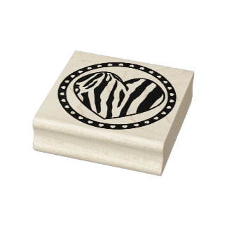 Zebra Striped Heart Rubber Stamp