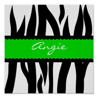 Zebra Striped Pattern Personalized Name Poster