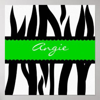Zebra Striped Pattern Personalized Name Poster