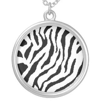 Zebra Striped Sterling Silver Necklace