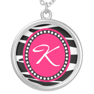 Zebra Stripes and Hot Pink Initial Necklace