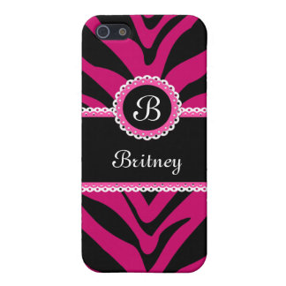 Zebra Stripes and Lace Monogram Pink iPhone 5/5S Cover