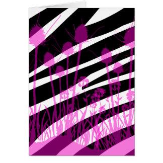 Zebra Stripes and Purple Meadow Flowers Card