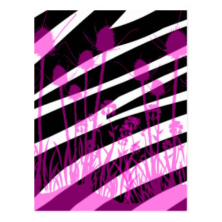 Zebra Stripes and Purple Meadow Flowers Postcard