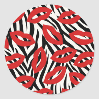 Zebra Stripes and Red Lips Stickers