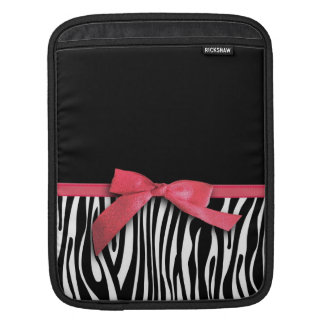 Zebra stripes and red ribbon graphic iPad sleeves