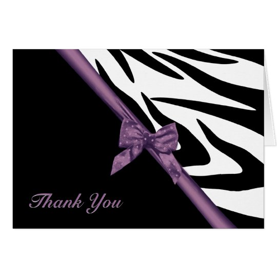 Zebra Stripes and Ribbon Thank You Note Card