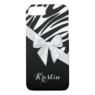 Zebra Stripes and White Bow with Name iPhone 7 Case