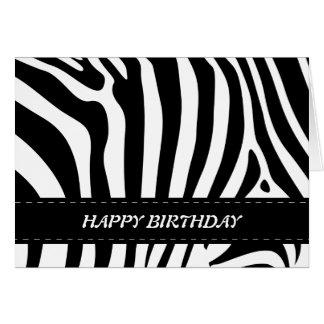 Zebra stripes black & white happy birthday card