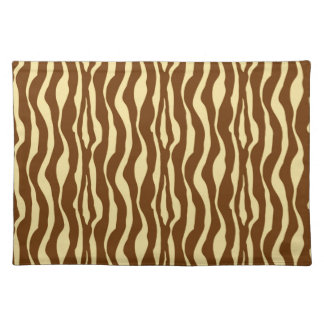 Zebra stripes - Chocolate Brown and Camel Tan Placemat