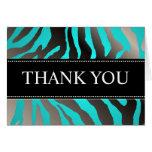 Zebra Stripes/DIY colour, Aqua/Thank You Note