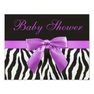 Zebra Stripes Faux Lilac Bow Baby Shower 11 Cm X 14 Cm Invitation Card