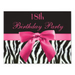 Zebra Stripes & Hot Pink Printed Bow 18th Birthday 11 Cm X 14 Cm Invitation Card