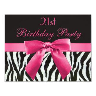 Zebra Stripes & Hot Pink Printed Bow 21st Birthday 11 Cm X 14 Cm Invitation Card