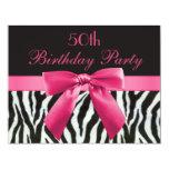 Zebra Stripes & Hot Pink Printed Bow 50th Birthday 11 Cm X 14 Cm Invitation Card