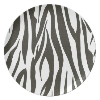 Zebra stripes in black and white plate