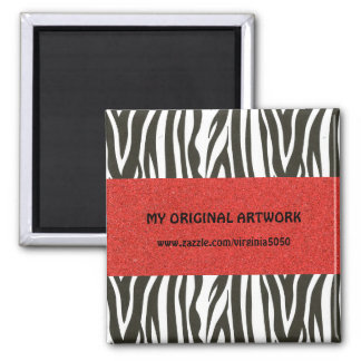 Zebra Stripes in Black and White with Red Stripe Magnet