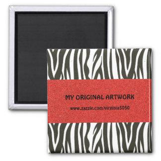 Zebra Stripes in Black and White with Red Stripe Square Magnet