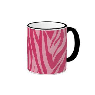 Zebra stripes in hot pink ringer coffee mug