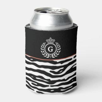 Zebra Stripes Laurel Crown Black White Monogram Can Cooler