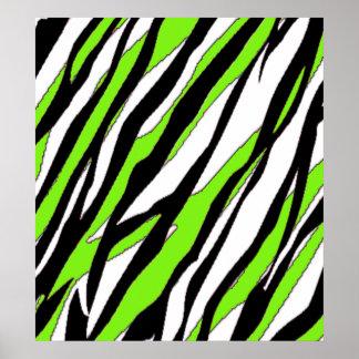 Zebra Stripes Lime Green Poster