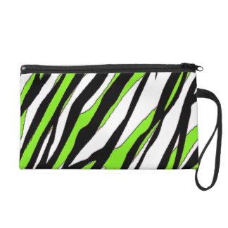 Zebra Stripes Lime Green Wristlet Purses