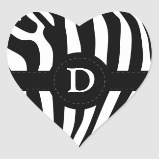 Zebra stripes monogram initial D custom Heart Sticker