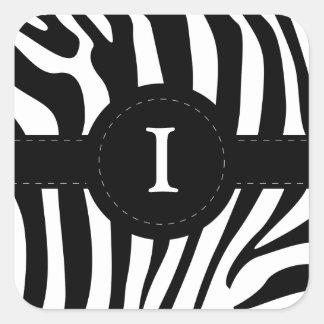 Zebra stripes monogram initial I custom Square Stickers