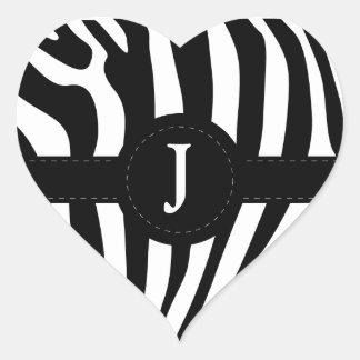 Zebra stripes monogram initial J custom Heart Sticker