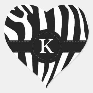 Zebra stripes monogram initial K custom Stickers