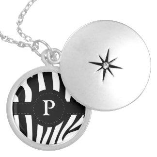 Zebra stripes monogram initial P custom Round Locket Necklace